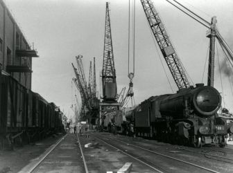 Steam locomotive on Cardiff Docks