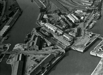 Cardiff docks from the air with dry dock